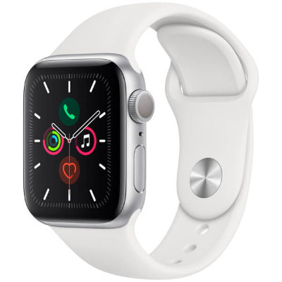 Часы Apple Watch Series 5 GPS 40mm Silver Aluminum Case with White Sport Band (Спортивный ремешок белого цвета)